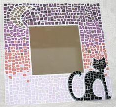 chat noir au clair de lune en mosaique modele mosaique artisanale