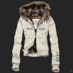 Abercrombie and Fitch Womens phys educ Fur Hoodie white