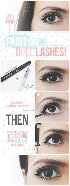 Go bold + super girly by drawing on bottom lashes! I think it would look better on me with dark purple or gold.