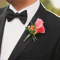Soft coral roses or godetia with peach hypericum berries. For the groomsmen