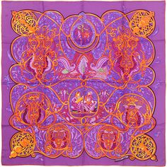 Pre-Owned Hermes Paris Charmante aux Animaux 90cm Silk Scarf Carre by... ($375) ❤ liked on Polyvore featuring accessories, scarves, purple, hermes scarves, pure silk scarves, silk scarves, multi colored scarves and purple scarves