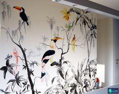 Muurschildering jungle met tropische vogels in een keuken