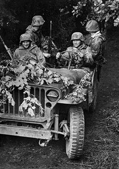 World War II. Front of Normandy, July 12, 1944. American Willis jeep taken by German soldiers. Pin by Paolo Marzioli
