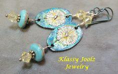Pewter and Lampwork Beaded Earrings-Floral Pewter Charms-Sterling Silver Earring-Artisan Earrings-Tribal-Primitive-Rustic Earrings-SRAJD by klassyjoolz on Etsy