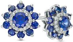 Zales Lab-Created Blue and White Sapphire Floral Stud Earrings in 10K White Gold