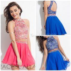 Summer Delicate Halter Chiffon Short Graduation Dresses Open Back Sexy Mini Party Gowns A Line Pure Handmade Rachel Allan 2015