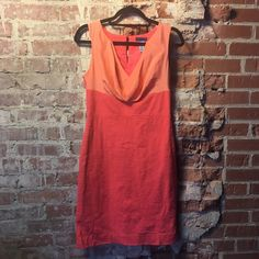 J. Crew Multi Color Dress Sleeveless pink and peach/sherbet J Crew dress! V neck, satin like top section, button keyhole in back. *Two tiny imperfections, pictured.  Happy Poshing! (x trade) J. Crew Dresses