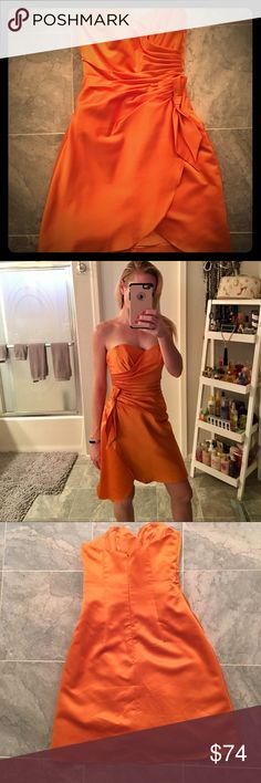 💥SALE💥SHIPPING TODAY! SEXY FORMAL DRESS🔥 BRAND NEW! Worn only once for Bridesmaid dress. PERFECT Condition! BEAUTIFUL, SEXY, ORANGE SATIN STRAPLESS FORMAL COCKTAIL DRESS!🔥🔥🔥 IMPRESSION Bridal Dresses Strapless