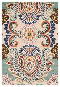 Porter Hand Tufted Rug, Ivory / Blue 4' X 6' - traditional - Area Rugs - Pacific Rug & Home