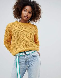 de28765127ad Pull Bear Pom Pom Detail Sweater at asos.com