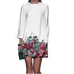 De las mujeres Recto Vestido Vintage Floral Hasta la Rodilla Cuello Barco Algodón / Otro 2016 - $15.99