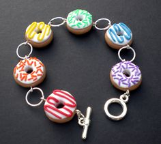 Kawaii Rainbow Doughnut Bracelet by KooKeeJewellery on Etsy