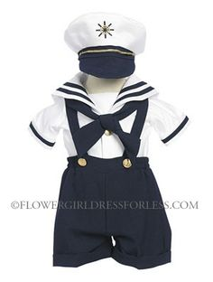The most adorable sailor suit you ever laid your eyes on! This set comes as pictured and includes shorts, shirt, tie and hat, $39.99