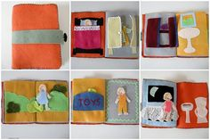 """Around the house book - including different outfits for a doll for each """"room"""". Other ideas: swimming pool (bathing suit and inner tube), Halloween (various costumes), kitchen (apron), tv (watching Colts with Daddy), bathroom (bath robe)..."""