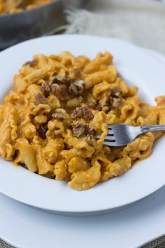 Creamy Pumpkin Pasta sauce  with crunchy brown sugar pecans. You have to try to truly understand just how fantastic this pasta dish is! #fishernuts ohsweetbasil.com-5