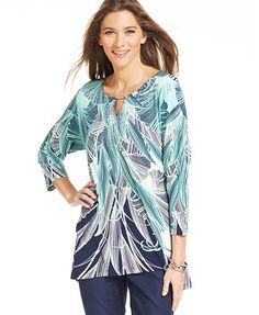 JM Collection Shark-Bite Embellished Tunic Tunic Tops For Leggings, Tunics Online, Shark Bites, Tie Dye, Cover Up, Clothes For Women, Casual, Shirts, Shopping