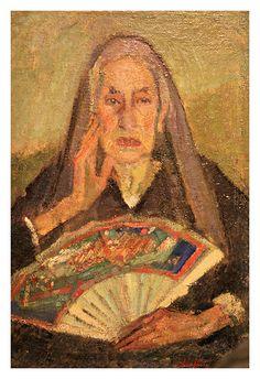 La mamma col ventaglio di Arturo Checchi (1939), olio su tela #TuscanyAgriturismoGiratola