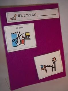 Cheap low tech : ) Dollar frame covered in felt to use for visual schedules.  - Re-pinned by #PediaStaff.  Visit http://ht.ly/63sNt for all our pediatric therapy pins