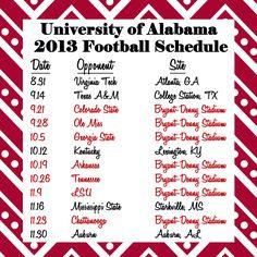 2013 Alabama Football Schedule!