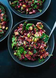 Reset with this healthy superfood salad featuring raw beets, carrot, quinoa, spinach, edamame and avocado. It& as colorful as it is nutritious! Vegetarian Recipes, Cooking Recipes, Healthy Recipes, Weeknight Recipes, Easy Recipes, Atkins Recipes, Bariatric Recipes, Healthy Salads, Healthy Eating