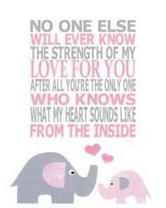 Nadie sabrá nunca la fuerza de mi amor por ti, después de todo tú eres el único que sabe como suena mi corazón desde el interior.