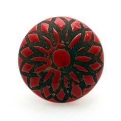 Bouton de meuble Rosace rouge en porcelaine - 4,10€ Boutons-Mandarine.com