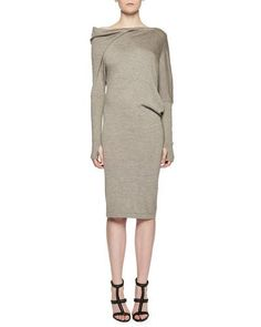 TRHFD TOM FORD Draped Off-the-Shoulder Knit Dress, Smoke
