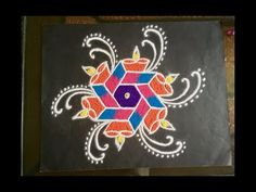 Simple Rangoli Design with Beautiful Colours and Dots Lotus Rangoli, Small Rangoli, Colorful Rangoli Designs, Rangoli Designs Diwali, Rangoli Ideas, Easy Rangoli, Pooja Rooms, Color Powder, Dots