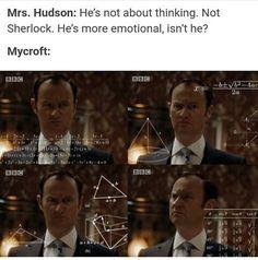 Mycroft when Mrs. Hudson says Sherlock is emotional xD (The Lying Detective)<----- And then Mycroft later says essentially the same thing Sherlock Bbc, Sherlock Fandom, Benedict Cumberbatch Sherlock, Sherlock Quotes, Watson Sherlock, Jim Moriarty, Sherlock Holmes Funny, Sherlock Humor, Martin Freeman