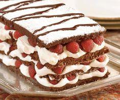 Chocolate Soufflé Layer Cake with Mascarpone Cream and Raspberries Recipe
