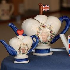 Teapots celebrating the Queen's Diamond Jubilee at Carters Ceramics in Debenham, Suffolk