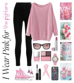 """""""#IWearPinkFor the Fighters!"""" by cassiet96 ❤ liked on Polyvore featuring Balmain, Converse, Casetify, Oakley, NARS Cosmetics, Butter London, Surratt and IWearPinkFor"""
