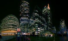 canary wharf night pano - Beautifull Lighting at Canary Wharf in London
