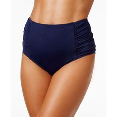 Tommy Bahama Pearl High-Waist Ruched Retro Bikini Bottom (865 ZAR) ❤ liked on Polyvore featuring swimwear, bikinis, bikini bottoms, mare, high waisted bikini bottoms, tommy bahama bikini, retro high waisted bikini, scrunch bikini and retro bikini
