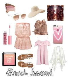 """""""Beach bound"""" by esmeralda-garcia87 ❤ liked on Polyvore featuring Boohoo, Melissa Odabash, nooki design, Eric Javits, Casetify, Ray-Ban, Calypso St. Barth, Charlotte Russe and Gucci"""