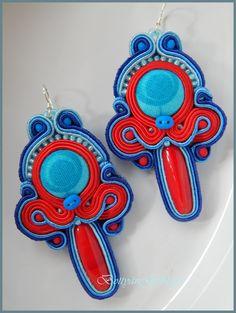 Piros - kék sujtás fülbevaló - Red - blue earrings soutache Soutache Earrings