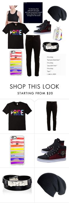 """FTM Transgender Pride"" by robbietheraccoon ❤ liked on Polyvore featuring Junya Watanabe Comme des Garçons, Casetify, Yves Saint Laurent, Black, West Coast Jewelry, men's fashion and menswear"