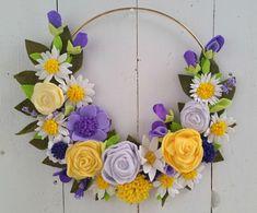 Yellow Purple Lavender Felt Flower Wreath // Felt Flowers //