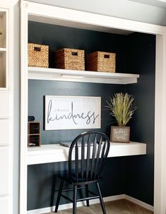 Home Office In A Closet office Home Office Closet, Office Nook, Guest Room Office, Home Office Space, Home Office Design, Home Office Decor, House Design, Home Decor, Closet Desk