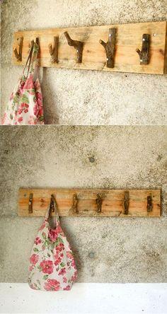 Cute DIY tree branch hooks. Great for a Tahoe cabin.