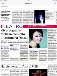 Intervista di Mara Pedrabissi su La Gazzetta di Parma in occasione del debutto di SVERGOGNATA - feb 2014