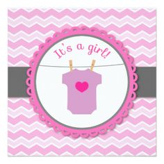 Chevron cor-de-rosa e branco do chá de fraldas -,