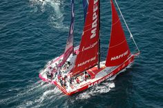 June 14, 2015. The SCA In-Port Race in Lorient; Team SCA and MAPFRE fight their way round the first mark Ainhoa Sanchez / Volvo Ocean Race