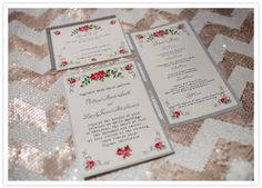 Love the floral printed invitations on the chevron sequin tablecloth. Mismatched patterns <3