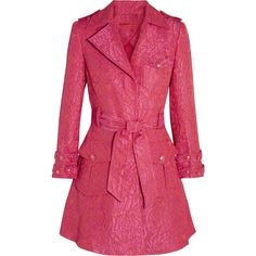 Alice + Olivia Klein floral-jacquard trench coat (1.150 BRL) ❤ liked on Polyvore featuring outerwear, coats, jackets, pink, casaco, fuchsia, jacquard coat, alice olivia coat, pink coat and pink trench coat