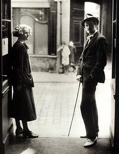 Paris, 1920. Joyce and Sylvia Beach outside the door of Shakespeare and Company on the Rue de l'Odéon.