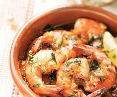 Crevettes à l'ail Potato Salad, Shrimp, Appetizers, Potatoes, Meat, Ethnic Recipes, Food, Tapas, Desserts