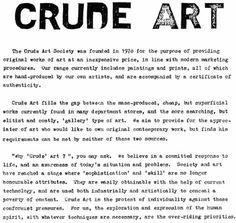 "Crude Art Manifesto / Charles Thomson / 1978.  Fills the gap between ""department store"" art and ""gallery"" art.  #subvert1970s"