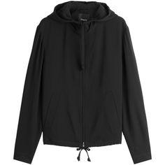 Theory Zipped Hoody ($395) ❤ liked on Polyvore featuring tops, hoodies, black, sweatshirt hoodies, zip hoodies, hooded zipper sweatshirts, zip front hooded sweatshirt and slim hoodie