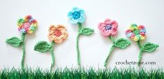Litte Darlings Flowers by CrochetZone.com ༺✿ƬⱤღ✿༻
